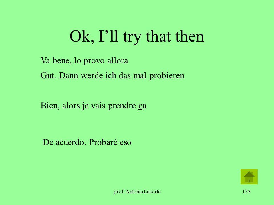 Ok, I'll try that then Va bene, lo provo allora
