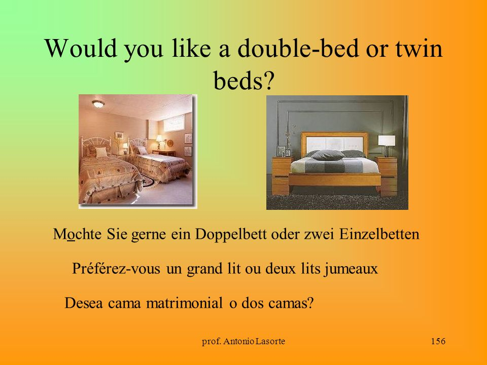 Would you like a double-bed or twin beds