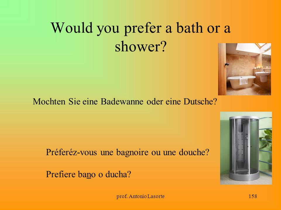 Would you prefer a bath or a shower