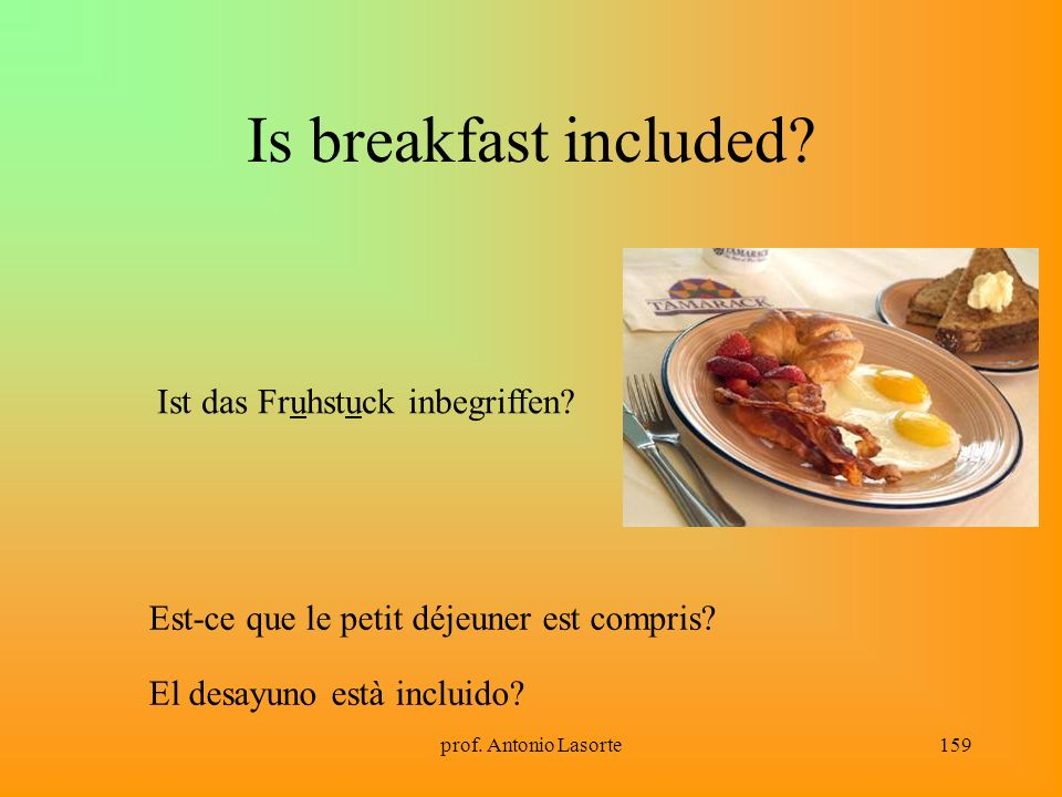 Is breakfast included Ist das Fruhstuck inbegriffen