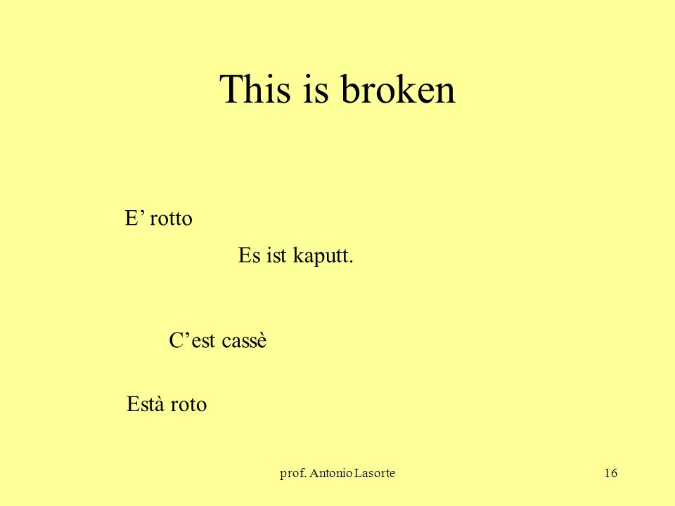 This is broken E' rotto Es ist kaputt. C'est cassè Està roto