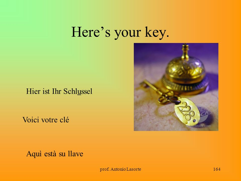 Here's your key. Hier ist Ihr Schlussel Voici votre clé