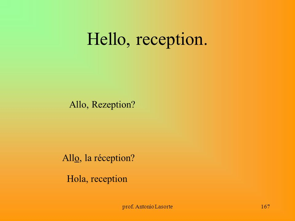 Hello, reception. Allo, Rezeption Allo, la réception Hola, reception