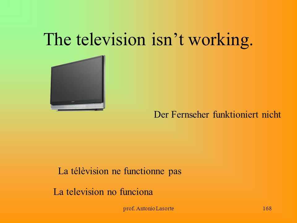 The television isn't working.