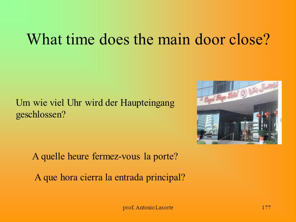 What time does the main door close