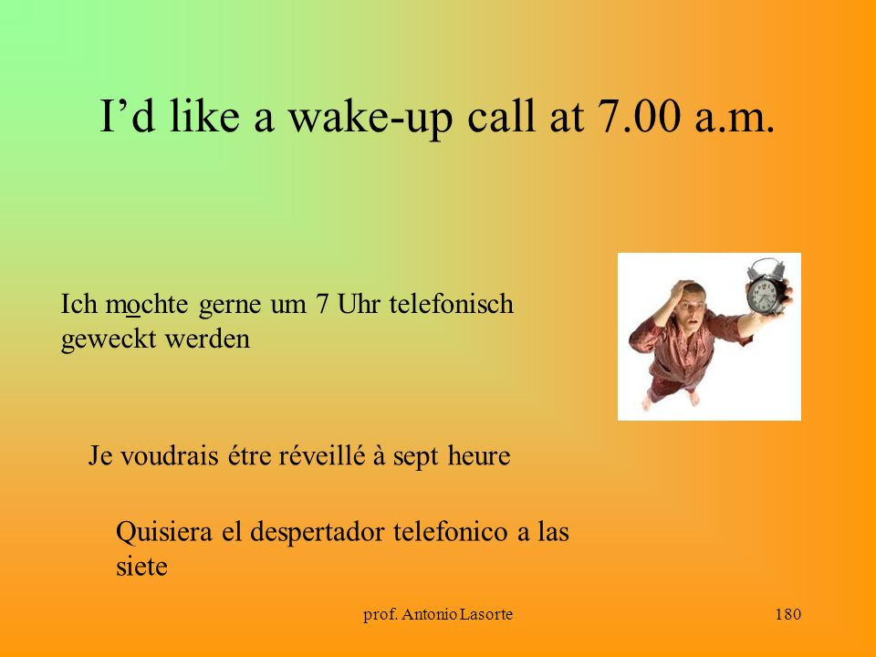 I'd like a wake-up call at 7.00 a.m.