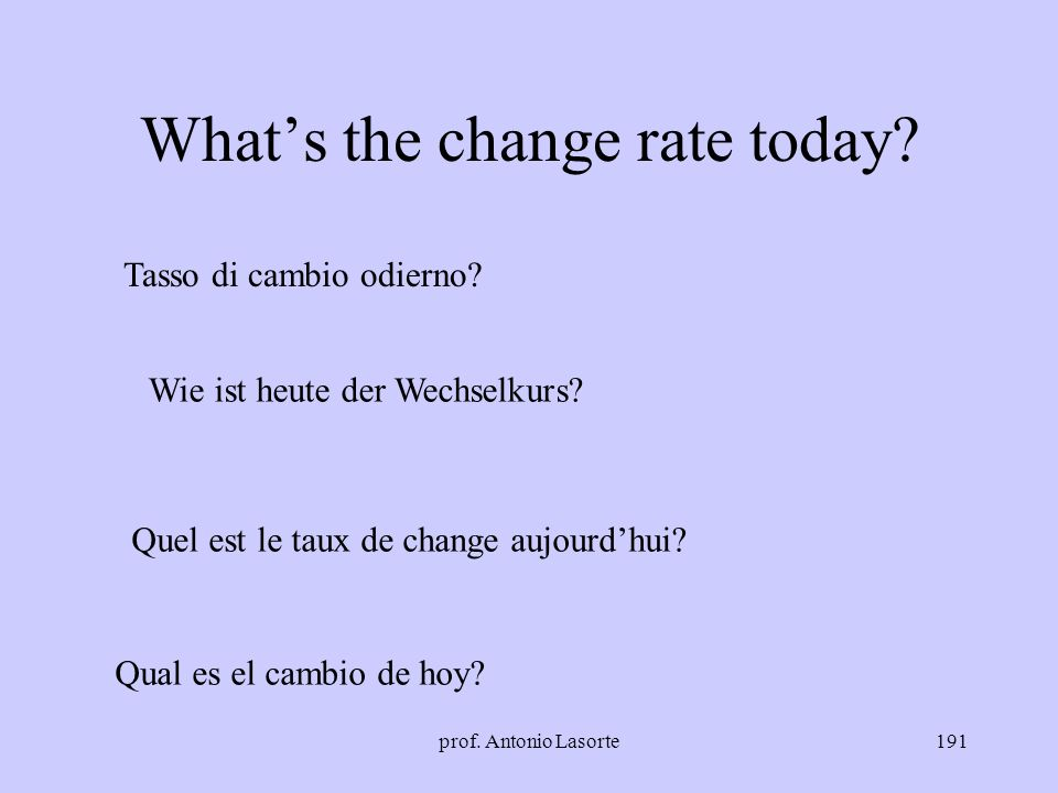 What's the change rate today