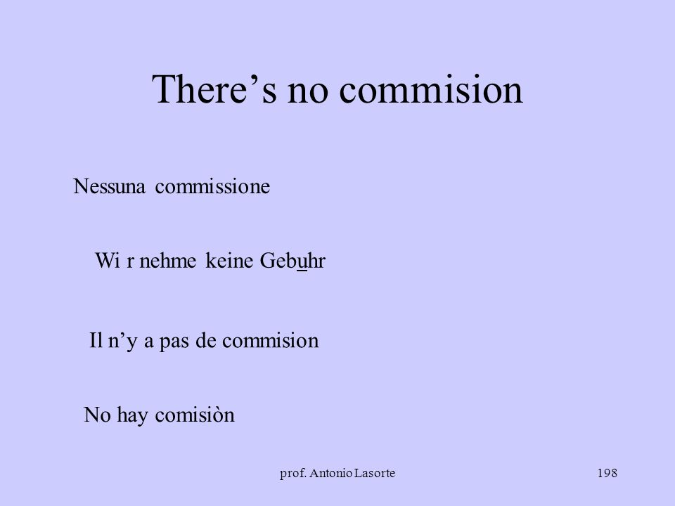 There's no commision Nessuna commissione Wi r nehme keine Gebuhr
