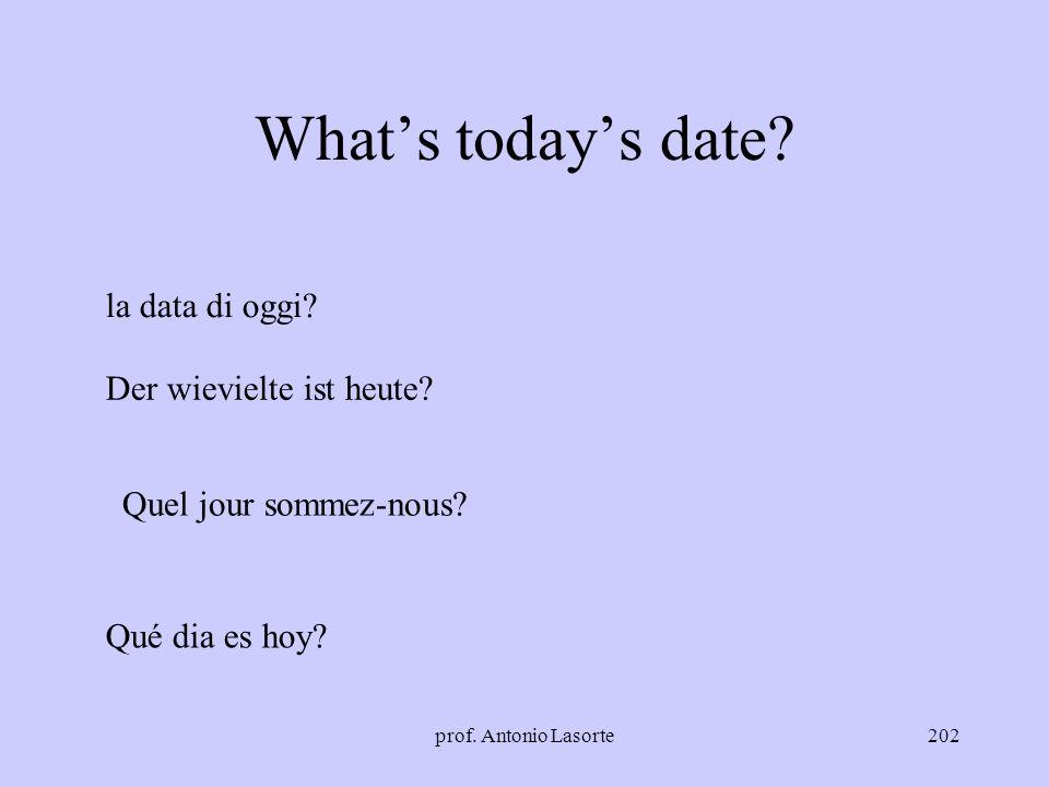 What's today's date la data di oggi Der wievielte ist heute