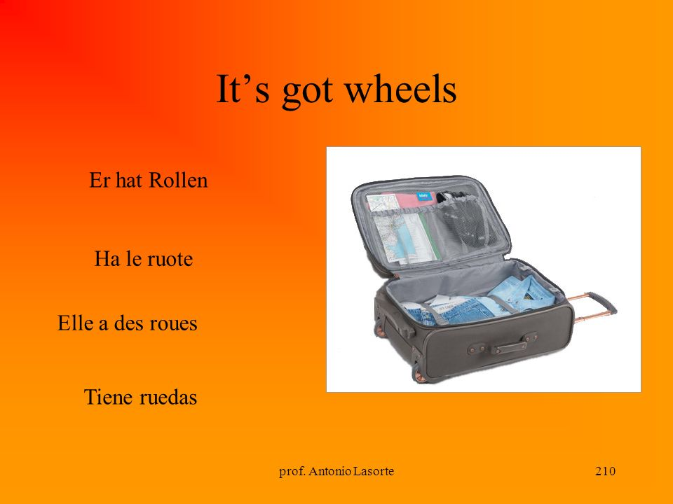 It's got wheels Er hat Rollen Ha le ruote Elle a des roues