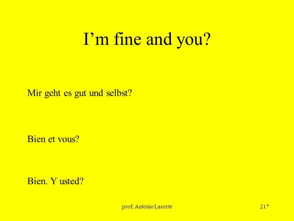 I'm fine and you Mir geht es gut und selbst Bien et vous