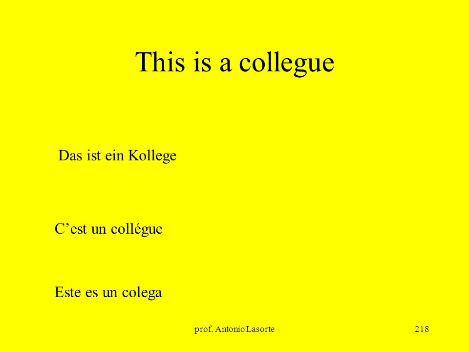 This is a collegue Das ist ein Kollege C'est un collégue