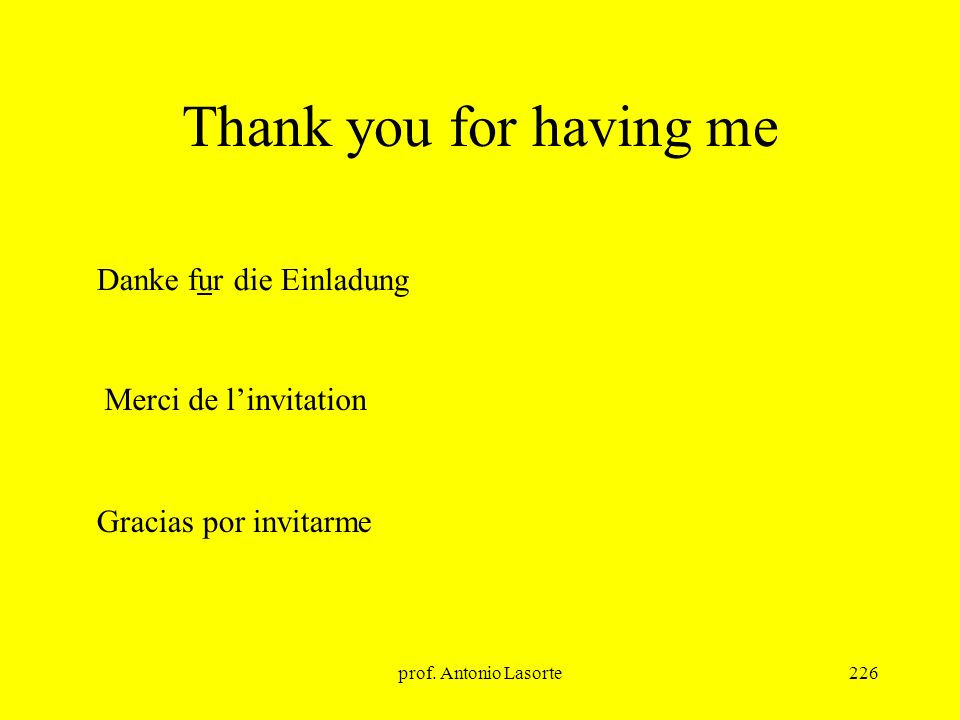Thank you for having me Danke fur die Einladung Merci de l'invitation