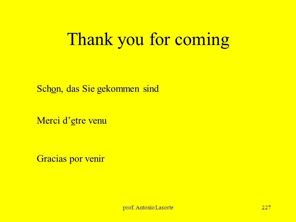 Thank you for coming Schon, das Sie gekommen sind Merci d'etre venu