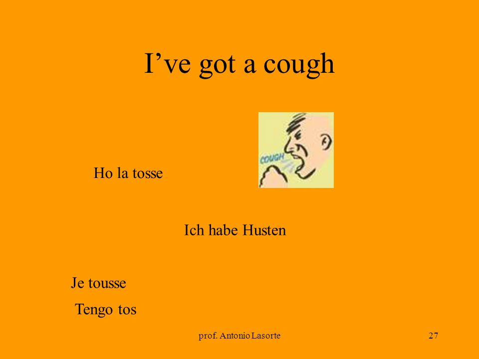 I've got a cough Ho la tosse Ich habe Husten Je tousse Tengo tos