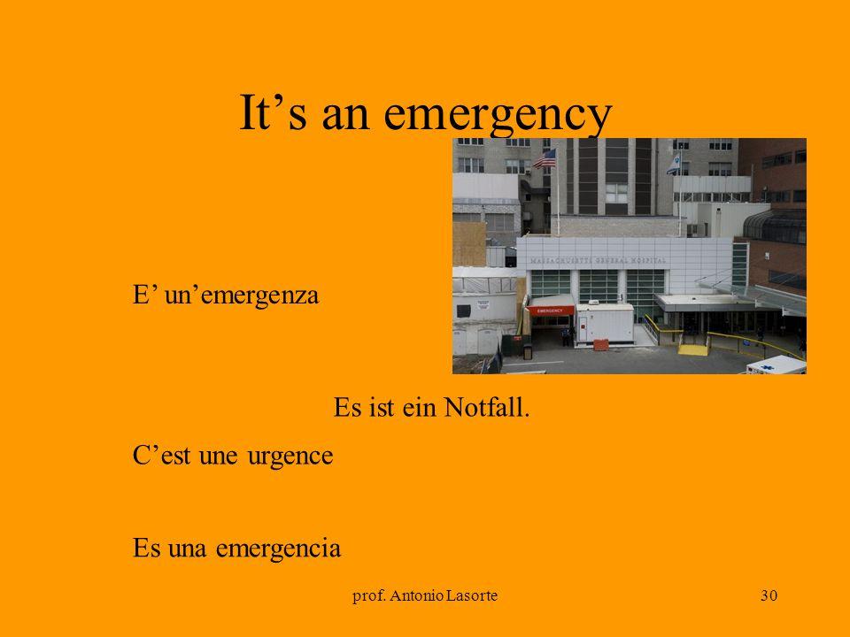It's an emergency E' un'emergenza Es ist ein Notfall.