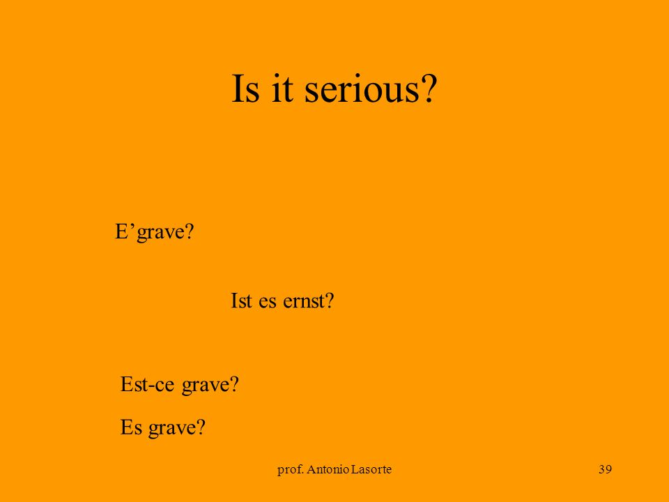 Is it serious E'grave Ist es ernst Est-ce grave Es grave