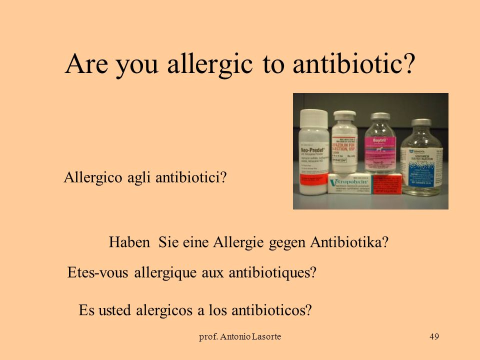 Are you allergic to antibiotic