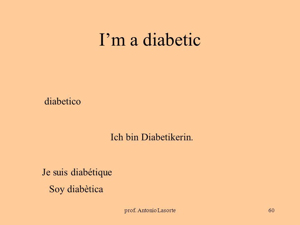I'm a diabetic diabetico Ich bin Diabetikerin. Je suis diabétique