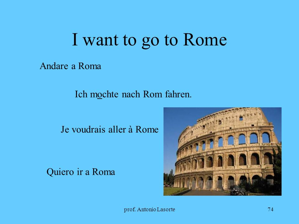 I want to go to Rome Andare a Roma Ich mochte nach Rom fahren.