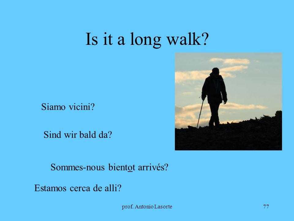 Is it a long walk Siamo vicini Sind wir bald da