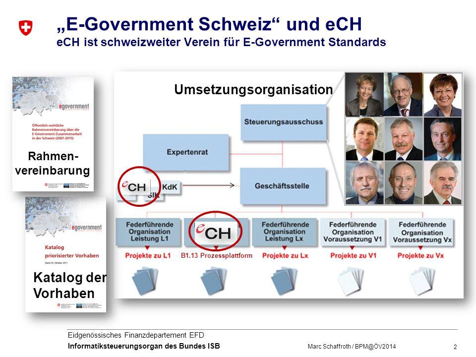 """""""E-Government Schweiz und eCH eCH ist schweizweiter Verein für E-Government Standards"""
