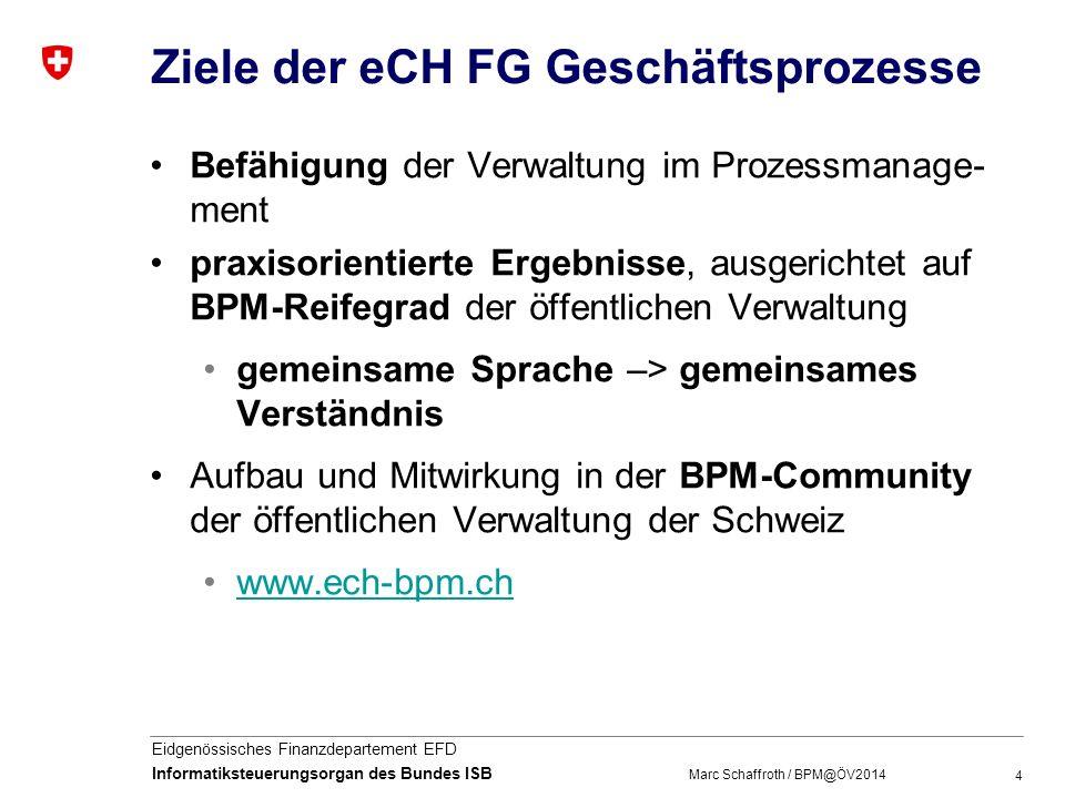 Ziele der eCH FG Geschäftsprozesse