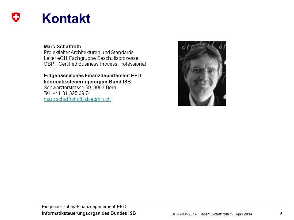 Kontakt Marc Schaffroth Projektleiter Architekturen und Standards