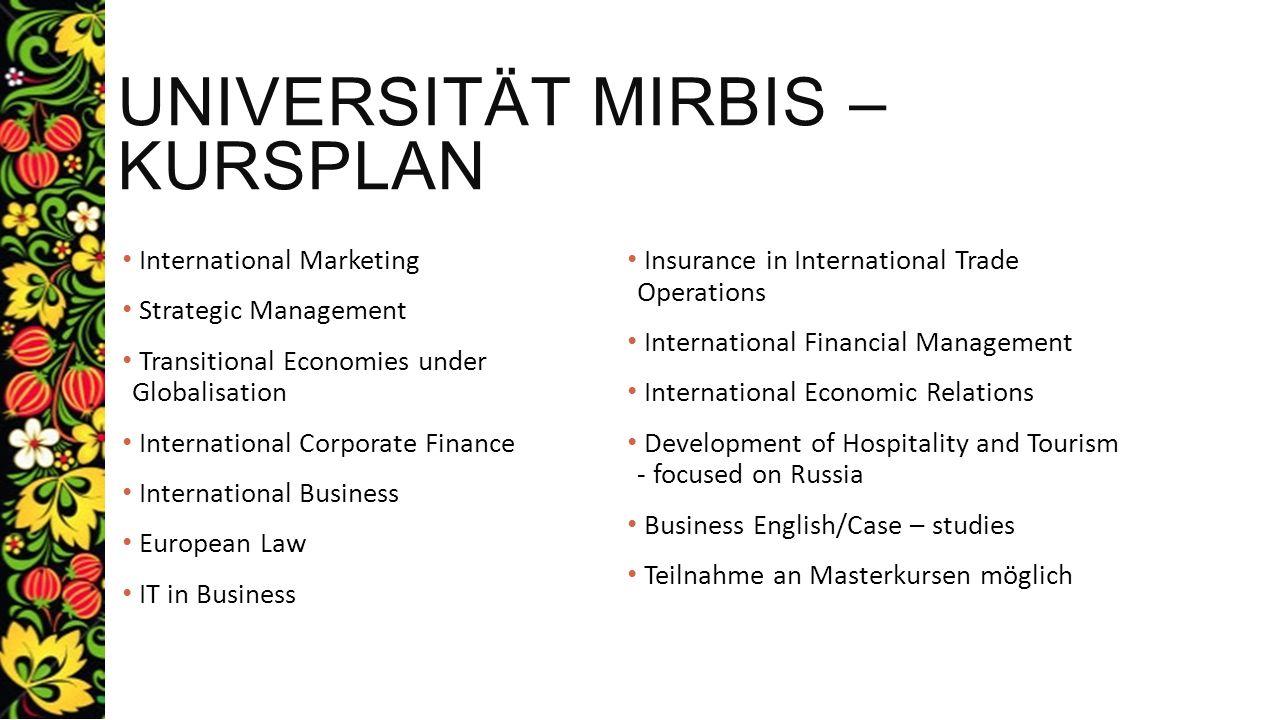 Universität Mirbis – Kursplan