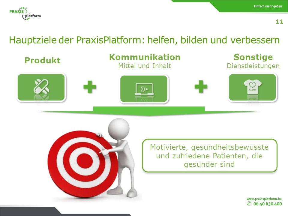 Hauptziele der PraxisPlatform: helfen, bilden und verbessern