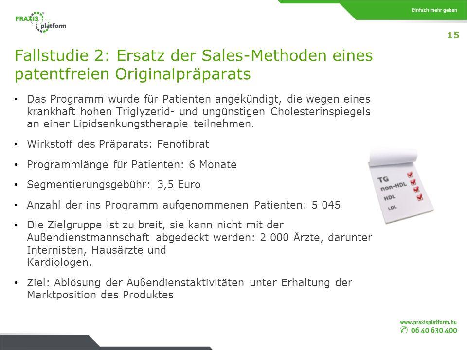 15 Fallstudie 2: Ersatz der Sales-Methoden eines patentfreien Originalpräparats.