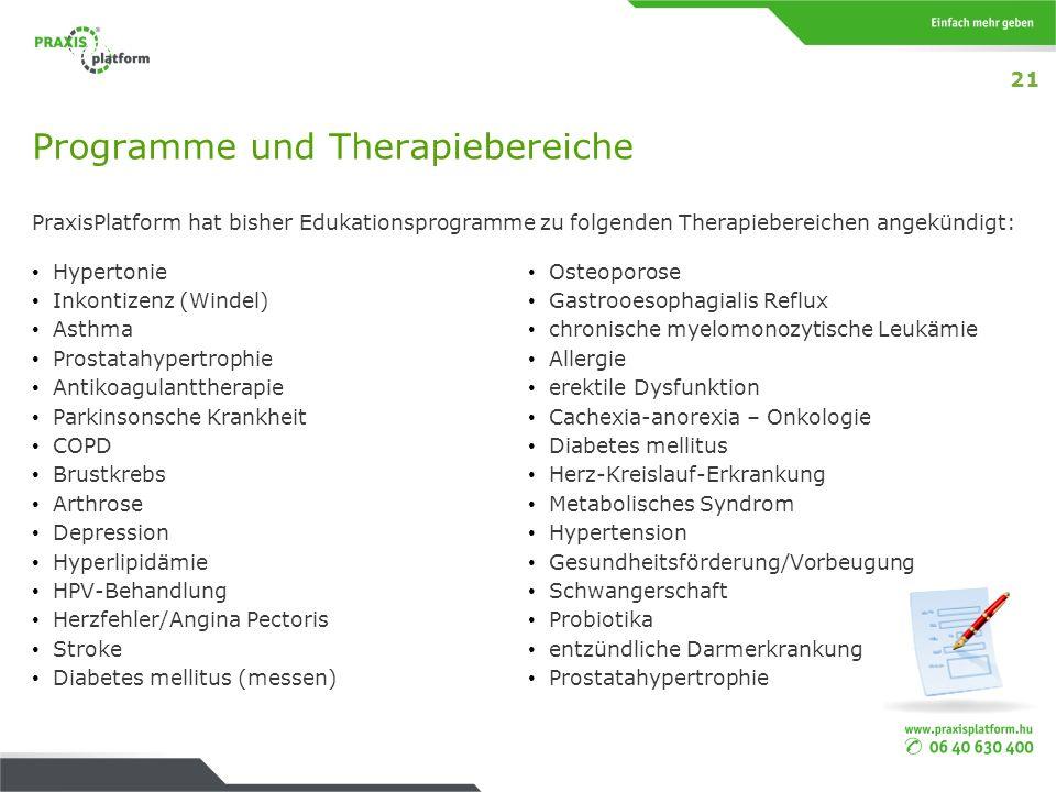 Programme und Therapiebereiche