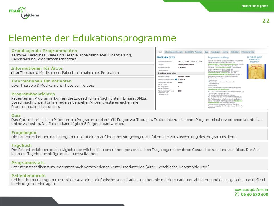 Elemente der Edukationsprogramme