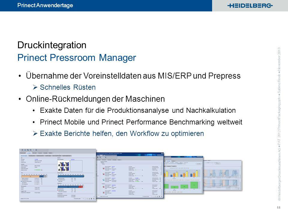 Druckintegration Prinect Pressroom Manager