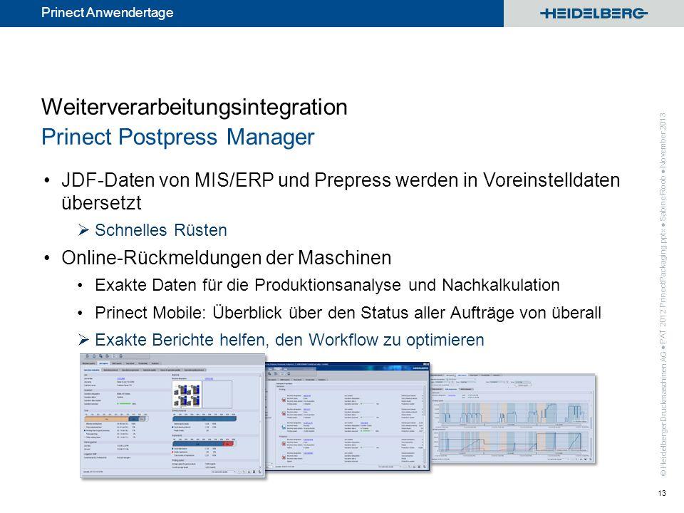 Weiterverarbeitungsintegration Prinect Postpress Manager
