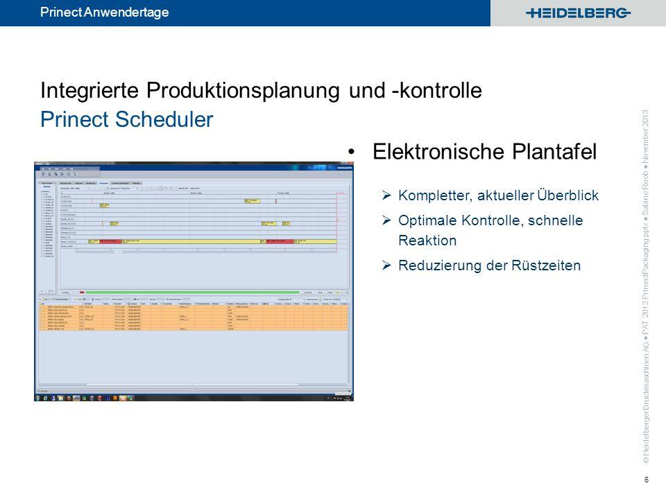 Integrierte Produktionsplanung und -kontrolle Prinect Scheduler