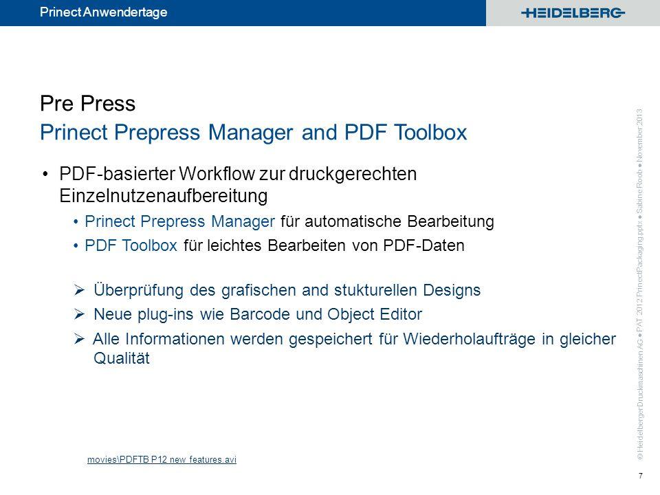 Pre Press Prinect Prepress Manager and PDF Toolbox