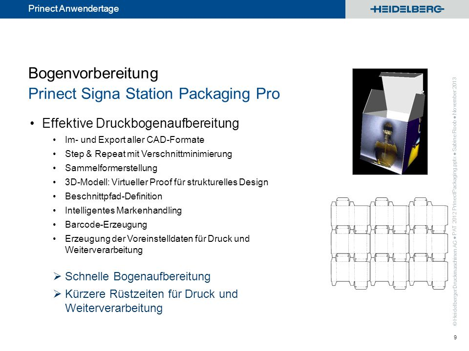 Bogenvorbereitung Prinect Signa Station Packaging Pro