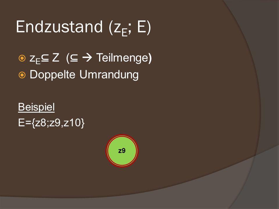 Endzustand (zE; E) zE⊆ Z (⊆  Teilmenge) Doppelte Umrandung Beispiel