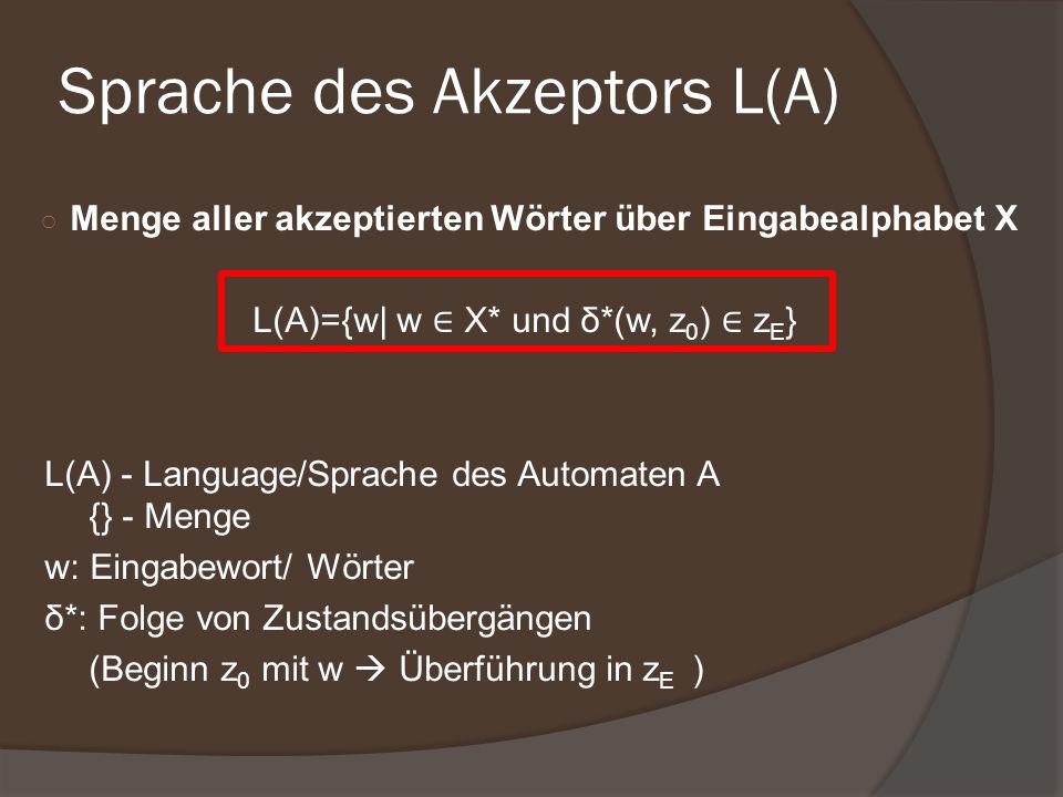 Sprache des Akzeptors L(A)