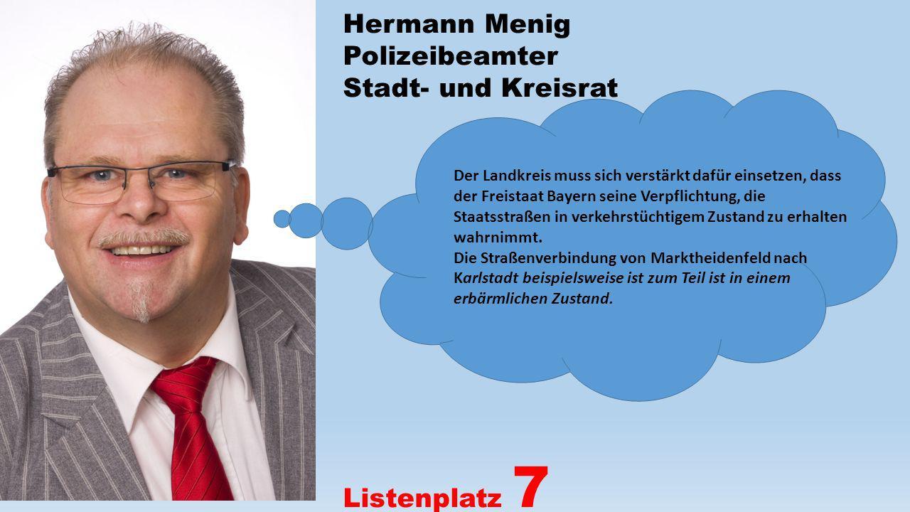 Hermann Menig Polizeibeamter Stadt- und Kreisrat Listenplatz 7