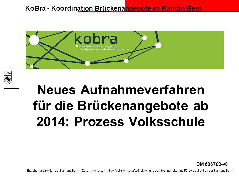 Neues Aufnahmeverfahren für die Brückenangebote ab 2014: Prozess Volksschule
