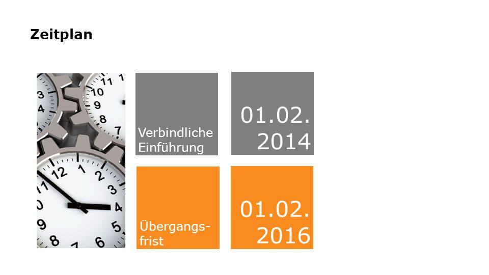 01.02. 2014 01.02.2016 Zeitplan Verbindliche Einführung