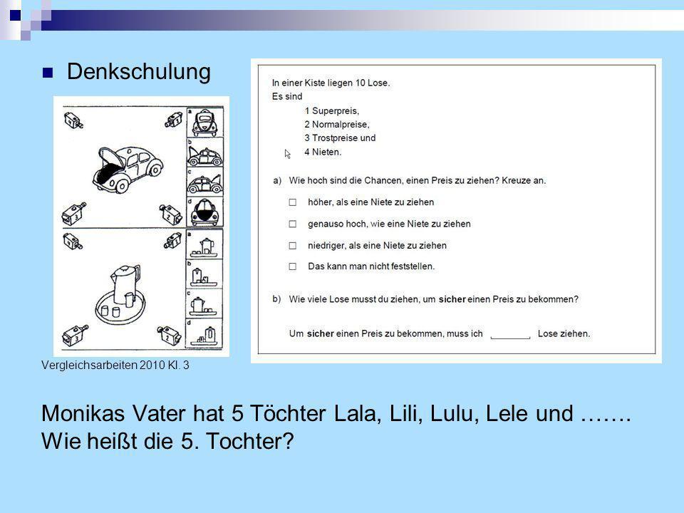 Denkschulung Vergleichsarbeiten 2010 Kl. 3. Monikas Vater hat 5 Töchter Lala, Lili, Lulu, Lele und ……. Wie heißt die 5. Tochter