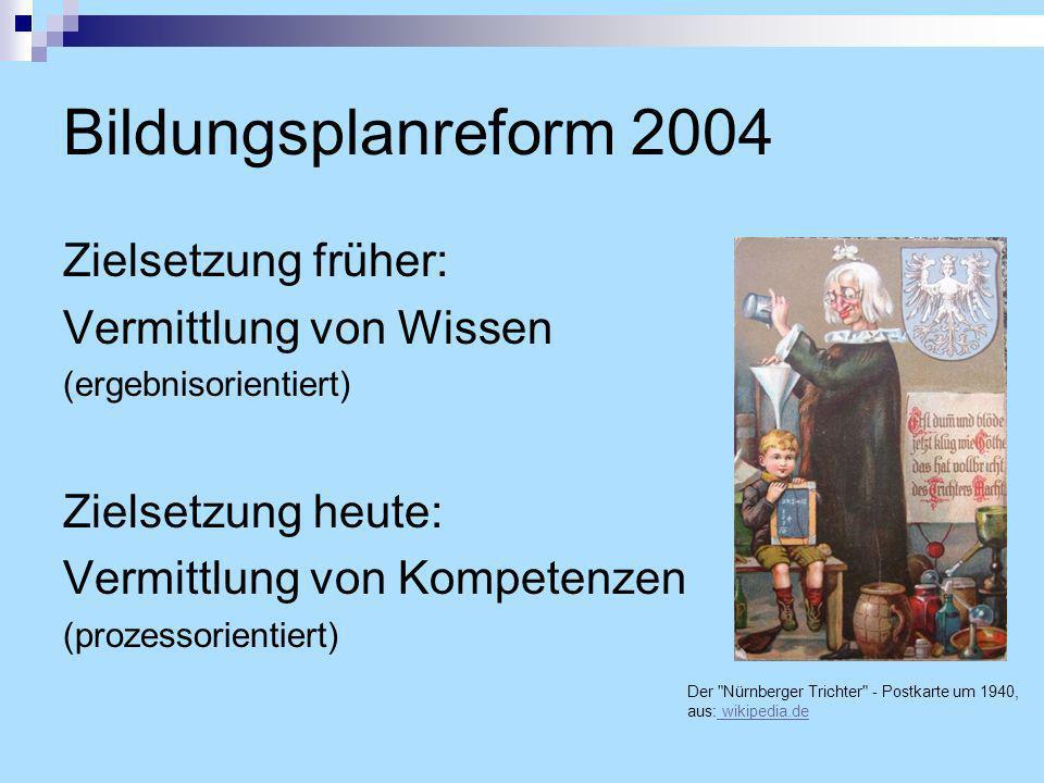 Bildungsplanreform 2004 Zielsetzung früher: Vermittlung von Wissen
