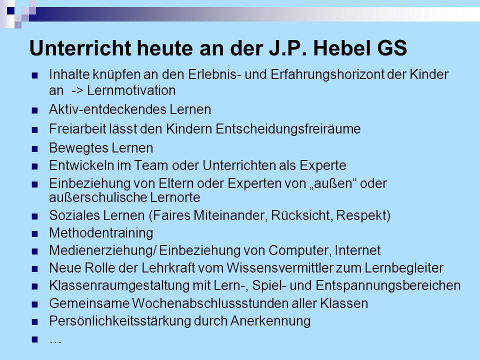 Unterricht heute an der J.P. Hebel GS