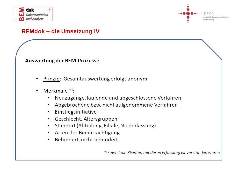 BEMdok – die Umsetzung IV