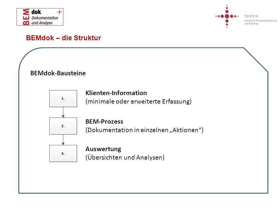 BEMdok – die Struktur BEMdok-Bausteine. Klienten-Information (minimale oder erweiterte Erfassung)