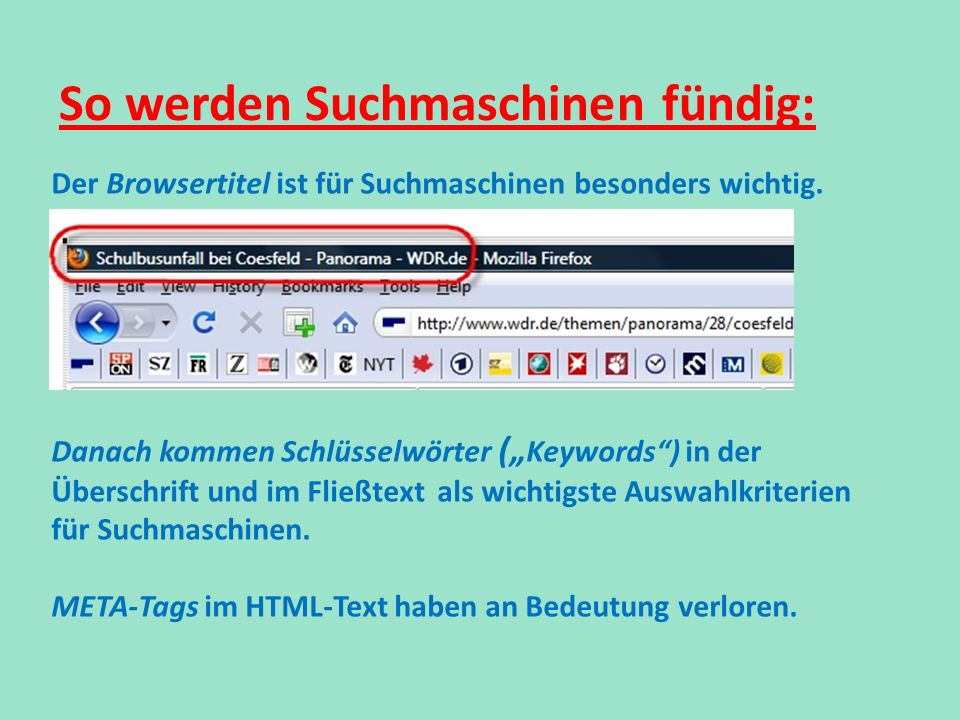 So werden Suchmaschinen fündig:
