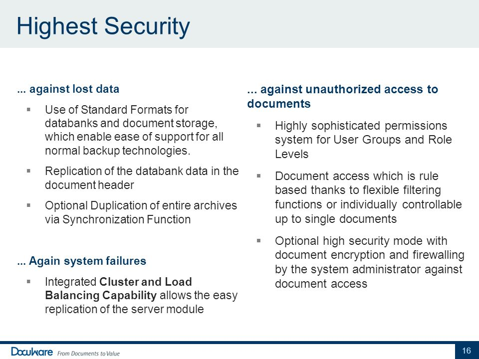 Highest Security ... against unauthorized access to documents